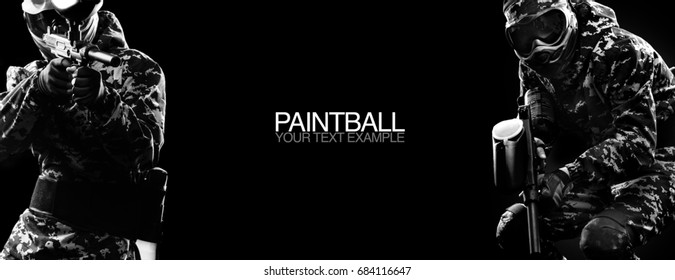 Paintball game and lasertag soldiers in military isolated on black background. Poster concept with copy space. Sport concept.