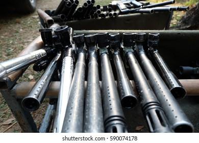 Paintball Guns In A Row