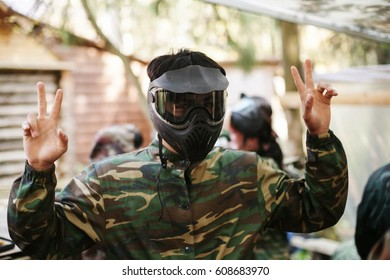 Paintball mask, boy extrime game. Mask for paintball