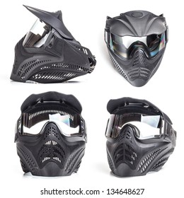Paintball mask on white background