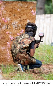 Paintball playing in Monterrey, Mexico. July 28, 2018