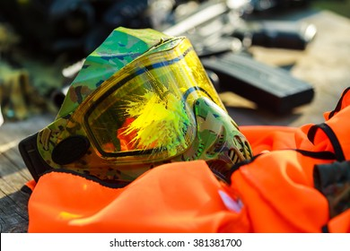 Paintball protective mask in the paint.