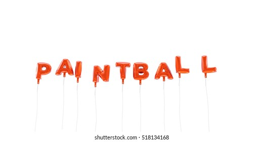 PAINTBALL - word made from red foil balloons - 3D rendered.  Can be used for an online banner ad or a print postcard.