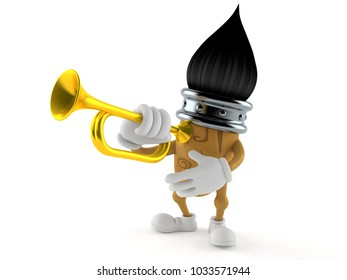 Paintbrush character playing the trumpet isolated on white background. 3d illustration