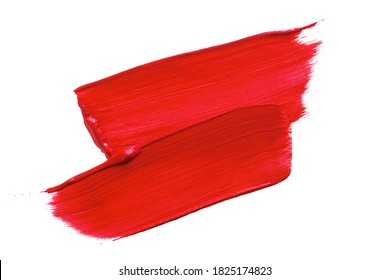 Paintbrush Stroke of red paint Isolated on White Background.