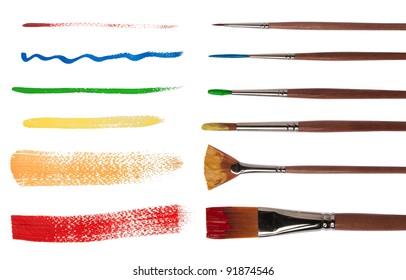 Paintbrushes with brush strokes isolated on white background
