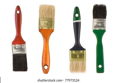 paintbrushes isolated on white background