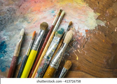 Paintbrushes on a palette