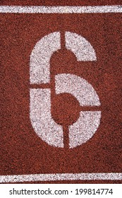 Painted '6' on running track
