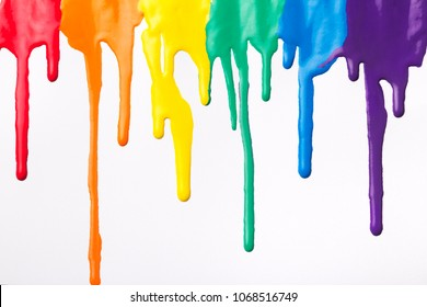 painted abstract background,flowing multicolored paint on white modern Art