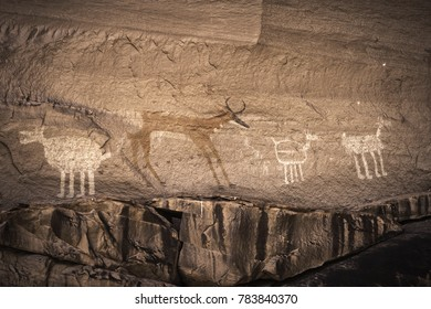 Painted Anasazi petroglyphs representing animals in the Canyon de Chelly National Monument - Arizona.