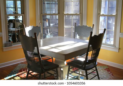 Painted Antique Table Chairs Yellow Dining Interiors Stock Image 1054601036