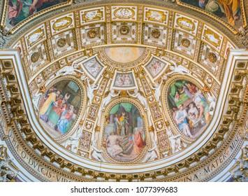 The painted apse by Cristoforo Casolani, in the Church of Santa Maria ai Monti, in Rome, Italy. April-08-2018