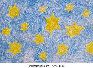 Painted blue starry sky Starry sky painted with wax crayons.