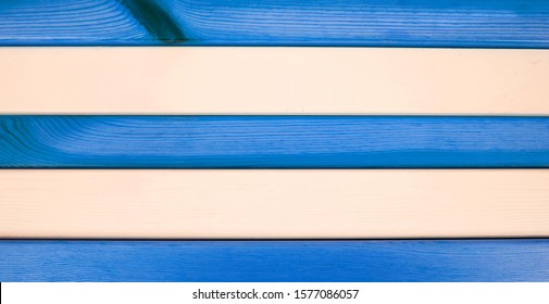 Painted blue wood & white wood - horizontal stripes as a background texture for design, and room for text / words.