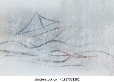 A painted boat with sea waves on a fogged window