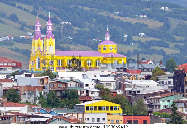 Painted in bright yellow and purple, the Church of San Francisco in Castro, Chiloe Island, Chile stands out as a magnificent landmark.