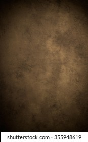Painted canvas or muslin fabric cloth studio backdrop or background, suitable for use with portraits, products and concepts. Dark brown painted design, with darker edges.