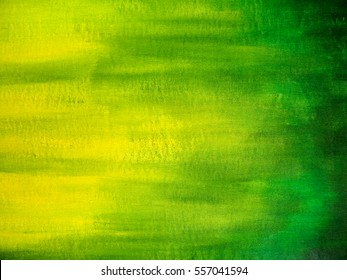 Painted canvas texture. Green and yellow colors shading on canvas. Acrylic Painting.
