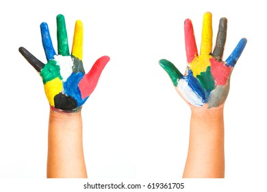 painted children hand, isolated on white background