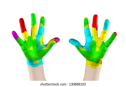 Painted child's hands.Isolated on white
