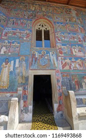 Painted church entrance, Voronet Monastery from Unesco Heritage