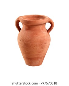 Painted clay amphora. Isolated on white background.