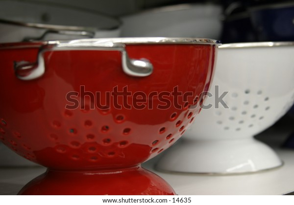 painted colanders/strainers