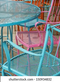 painted colorful cafe chairs