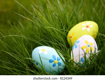 Painted Colorful Easter Eggs in Grass