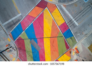 Painted colorful intersection fort lauderdale florida