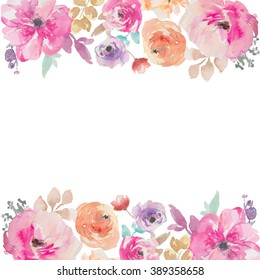 Painted Colorful Watercolor Flower Border