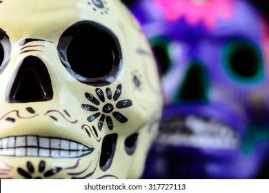 Painted for the Day of the Dead skull (Mexican tradition)