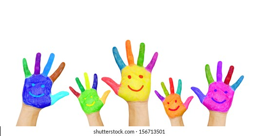Painted in different colors smiling colorful hands rising up, ready for your logo, text or symbols. The concept of diversity, meeting and socializing. Isolated on white background