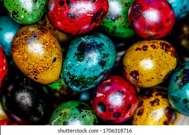painted Easter quail eggs for Easter