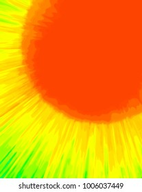 Painted effect hot bright sun background - suitable for spring, summer, sea, surf and holiday themes. For textiles, stationery, and advertising