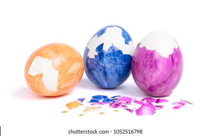 Painted eggs, pealed easter eggs - Isolated on white