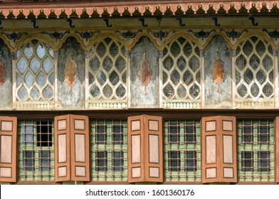 Painted facade details of Harem in Crimean Khan's Palace in Bakhchisarai, Crimea