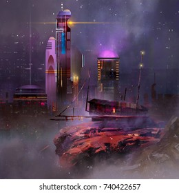 Painted fantastic landscape. Night city of the future.