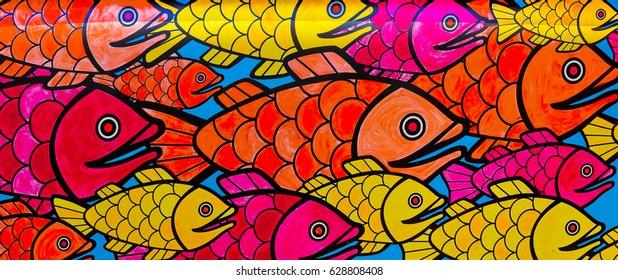 Painted fish wall