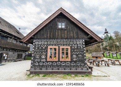 Painted folk house, Cicmany village, Slovak republic. Architectural theme. Travel destination.
