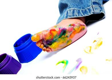 Painted foot a little boy