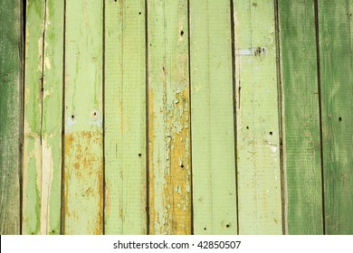 painted green background.