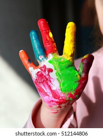 Painted hand of the child