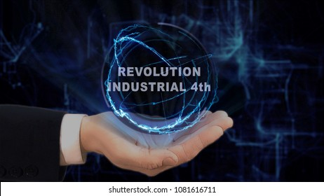 Painted hand shows concept hologram Revolution Industrial 4th on his hand. Drawn man in business suit with future technology screen and modern cosmic background