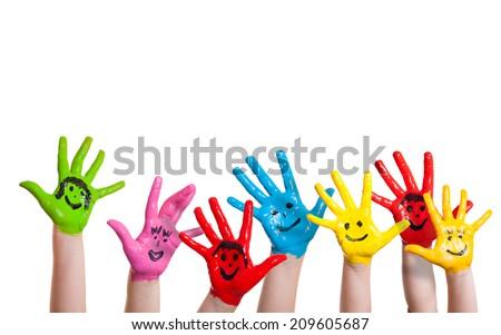 painted hands children smileys stock photo edit now 209605687