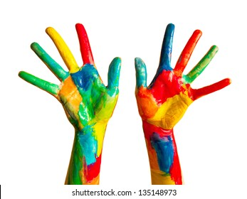 Painted hands, colorful fun. Creative, funny and artistic means happy! Isolated on white.