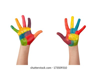 Painted hands isolated on white