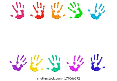 painted hands isolated in white