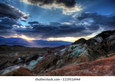 Painted Hills at death valley national park at sunset